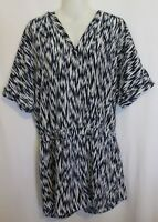 WITCHERY ~ White Blue Graphic Print Summer Short Sleeve Playsuit Romper 12