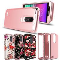 For LG Stylo 4/4 Plus/Stylo 3 Shockproof Hybrid Armor Rose Full Cover Phone Case