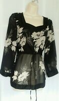 Womens Monsoon  Chiffon Top Size 12 Sheer Black White Floral 3/4 Sleeves New