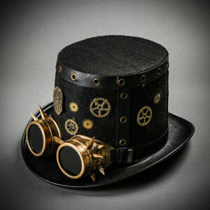 Black Gold Steampunk Costume Goggles Top Hat Halloween Party Head Gear For Men