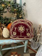 Pretty Vintage Old Red Gold Tea Cosy Padded Velvety Traditional Crewel Work