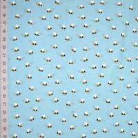 Animal Fabric - What Do Animals Say Bee Toss Blue - Robert Kaufman YARD