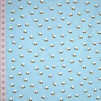 Animal Fabric - What Do Animals Say Bee Toss Blue - Robert Kaufman YARD
