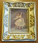 Vintage Chic Resin Dancing Ballet Ballerina Hanging Picture Cream Gold