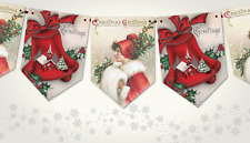 Traditional Vintage 'Christmas Greetings' Christmas Bunting/Banner & Ribbon