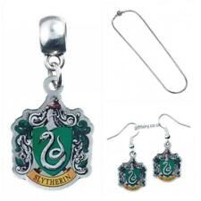Genuine Harry Potter Silver Plated Slytherin Charm, Slider Necklace & Earrings