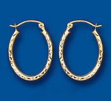 Oval Gold Hoop Earrings Creole Yellow gold Diamond Cut 23 x 16mm Hallmarked
