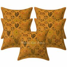 Indian Decorative Sofa Cushion Covers 40x40 cm Ari Embroidered Cotton Set Of 5