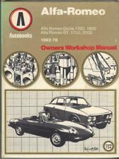 ALFA ROMEO GIULIA GTV DUETTO SPIDER 1300,1600,1750,2000 WORKSHOP MANUAL 1962-78