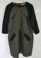 Hobbs Unlimited Cotton Blend Round Neck Dress Black White Size 16 UK         246