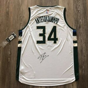 Giannis Antetokounmpo autographed signed jersey NBA Milwaukee Bucks JSA Fanatics