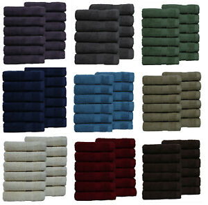 LUXURY 650 GSM PACK OF 12 100% COMB COTTON FACE CLOTH TOWELS FLANNELS WASH !!!