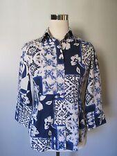 Coldwater Creek Blue Floral Button Front 3/4 Sleeve Cotton Stretch Top SZ: PXS