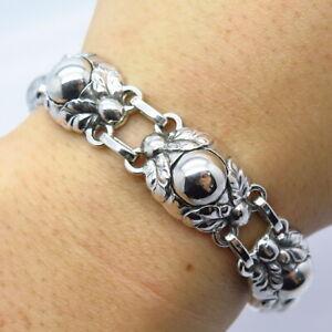 Rare Georg Jensen Antique Denmark 925 Sterling Silver Floral Link Bracelet #57