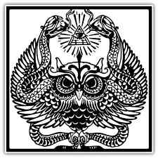 "Illuminati Owl Eye of Providence Car Bumper Window Sticker Decal 4.6""X4.6"""