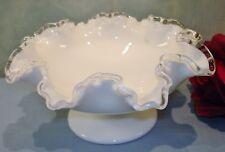 "Fenton Silvercrest White Milk Glass Ruffled Footed Bowl 8"""