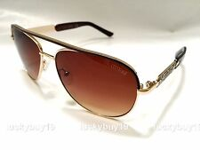 GUESS GF 0287 Gold Brown Sunglasses Aviator Authentic Women Gift idea /209/ New