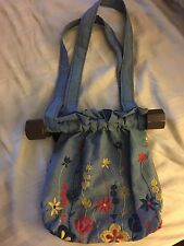 Vintage 70's Chambray Floral Embroidered Hobo Style Purse