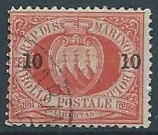 1892 SAN MARINO USATO SOPRASTAMPATO 10 CENT - RR13942