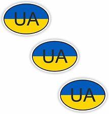3x adesivi ovali bandiera Ucraina Piccolo Paese Codice Custodia Laptop Smartphone