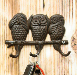 Cast Iron See Hear Speak No Evil Great Horned Owls Family 3 Pegs Wall Hook Decor