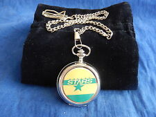 DALLAS STARS ICE HOCKEY NHL CHROME POCKET WATCH WITH CHAIN (NEW)
