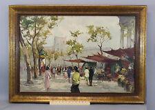 Large Vintage Pierre Dumont French Impressionist Paris Streetscene Oil Painting