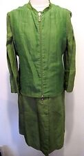 Giorgio Armani Vintage Two Piece Green Linen Dress Sleeveless Jacket Size 44?
