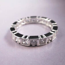 STERLING SILVER White Gold 2.8 karat CT Channel Setting Eternity Band Ring Sz 5