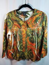 Simply Irresistible Orange Green Cream Interrupted print Cropped Jacket Small