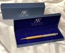 Fashion SWAROVSKI Element Crystal Pen with Anna Wu Gift Case GOLD