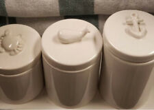 Pottery Barn Set 3 Nautical Canister Ivory Crab Whale Anchor Coastal