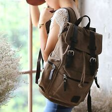 Retro CANVAS LEATHER BACKPACK RUCKSACK School Travel Men Women Bag BROWN sf 8078
