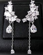 RHODIUM Sterling Silver Sparkling BIG Dangling CZ Long Earrings 5G Front Back