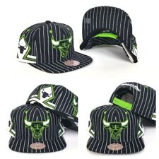 e883fb86629 Mitchell   Ness NBA Chicago Bulls Black   Lime Green pinstripe snapback Hat  Cap