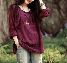 Women's Plus Size Batwing Linen&Cotton Solid Color Blouse Tops Loose Shirts