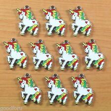 10pcs Cute My Little Pony Enamel Metal Charm Pendants Key Chain Craft Making DIY