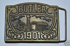 """Vintage BUTLER """"1901"""" New Jersey NJ Solid Brass Belt Buckle RARE"""