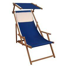 Chaise Longue Bleu Transat pour Jardin Hêtre de Plage Toit Ouvrant Coussin