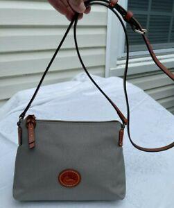 Dooney & Bourke Gray Cross Body Brown Leather Adjustable Strap Handbag Purse