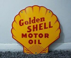 VINTAGE SHELL PORCELAIN SIGN GAS MOTOR OIL STATION PUMP CLAM GASOLINE AD PUMP