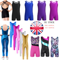 UK Girl Kid Gymnastics Jumpsuit Ballet Dance Leotards Bodysuit Dancewear Costume