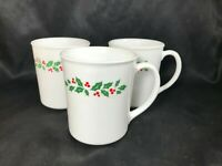 Set of 3 Vintage CORELLE Corning Ware HOLLY DAYS Coffee Cups