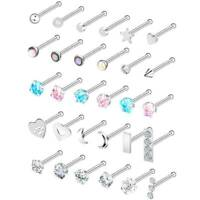 30PCS 20G CZ Nose Ring Bone Studs 316L Stainless Steel Pin Body Piercing Jewelry