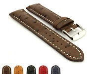 Padded Genuine Ostrich Leather Skin Watch Strap Band EMU SS. Buckle, Spring Bars