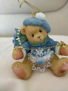 Cherished Teddies 272175 BEAR WITH DANGLING SNOWFLAKES 1997 HANGING ORNAMENT