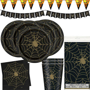 BLACK GOLD SPIDER WEB Halloween Party Supplies Tableware, Decorations, Balloons