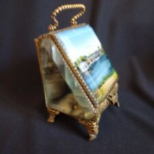 Vintage Jewelry Watch Box Ring Blue Paris Chateau Fountainebleu Art Nouveau