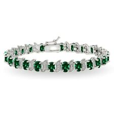 Sterling Silver Simulated Emerald & White Topaz 6x4mm Oval and S Tennis Bracelet