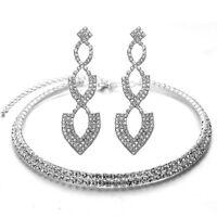 Diamante Shiny Silver White Rhinestones Necklace Choker Set Drop Earrings S788